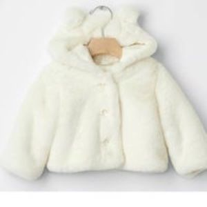 Baby Gap Faux Fur Bear Hooded Jacket 6-12 months